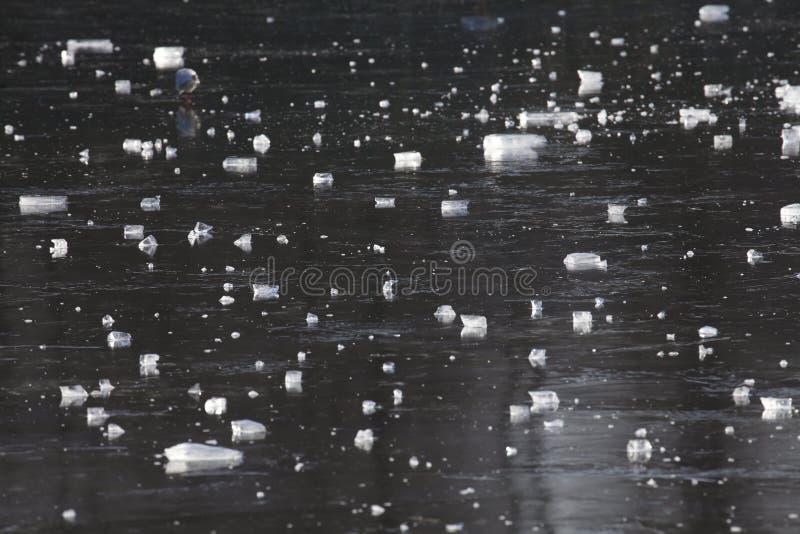 Is på en isbunden sjö royaltyfria foton