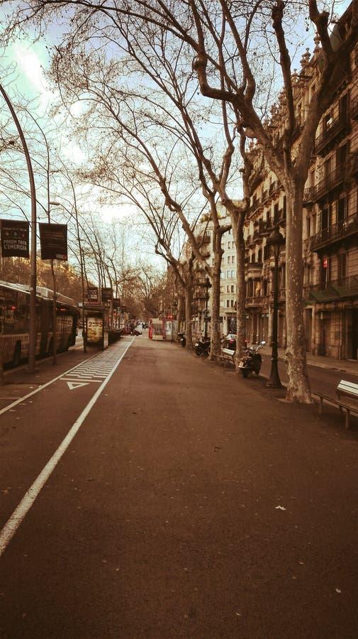 På en isolerad gata i Barcelona arkivfoton