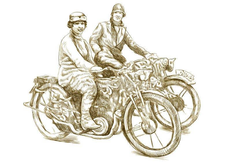 På en motorcykel vektor illustrationer