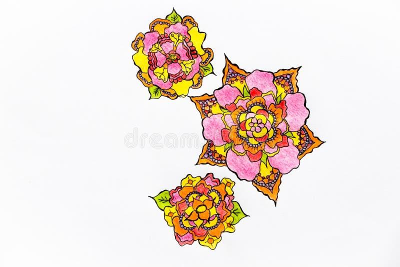 På en mycket härlig vit bakgrund, föreställs ljusa och ovanliga blommor vektor illustrationer
