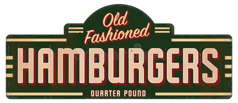 På ett pund för fjärdedel för Retro hamburgaretecken gammalmodig arkivfoton