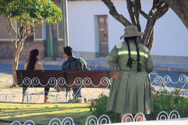 På gatan i Sucre Bolivia fotografering för bildbyråer
