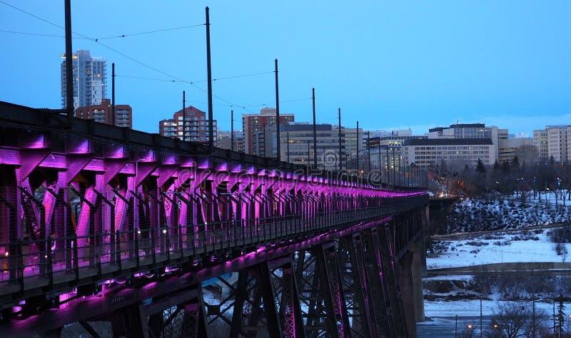 På hög nivå bro med ljus Edmonton Alberta royaltyfria bilder