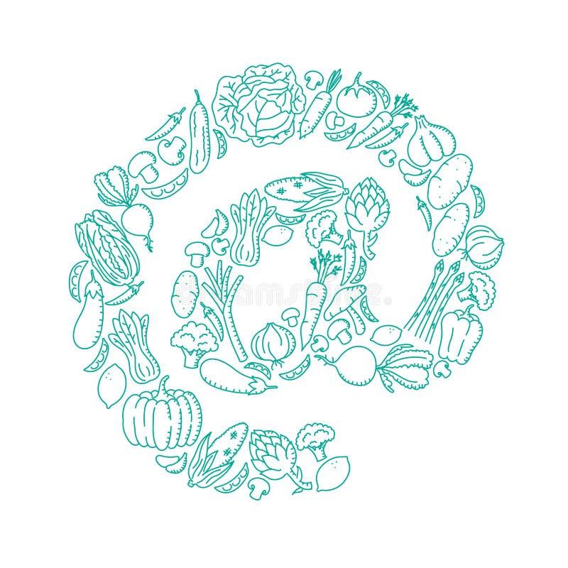 På illustrationen för uppsättningen för modellen för teckensymbolgrönsaken räcker ungar teckningsbegreppsdesign vektor illustrationer