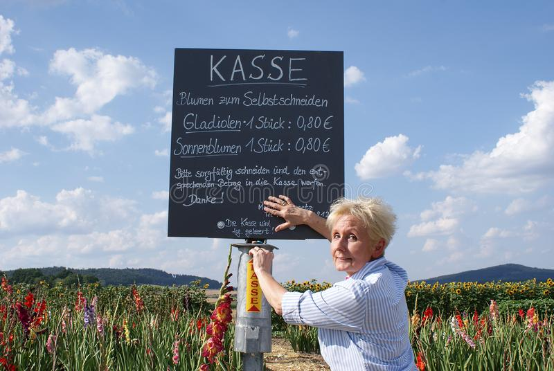 På kanten av blommafältet är ett informationsbräde och en biljettkontor av förtroende arkivfoto