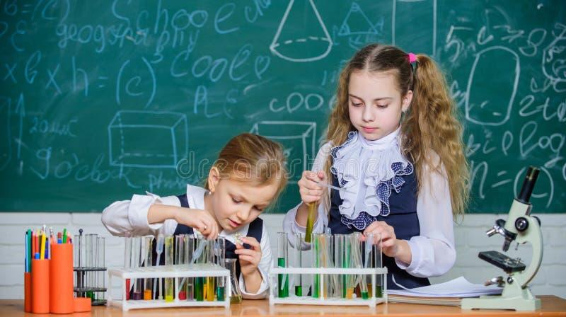 På kemigrupp Små elever som rymmer provrör i laboratoriumgrupp Små skolflickor som lär kemi under arkivfoto