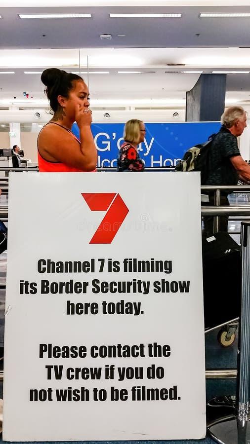 På Kingsford-smed den internationella flygplatsen Sydney, Australien arkivfoton