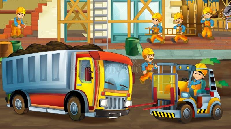 På konstruktionsplatsen - illustration för barnen vektor illustrationer