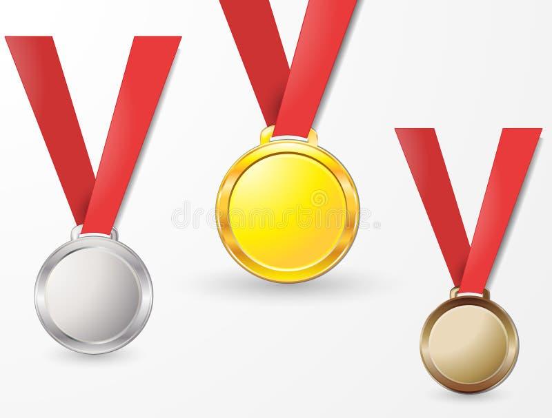 På koppar för brons för silver för bakgrundsmedaljer guld- på ett isolerat rött band royaltyfri illustrationer