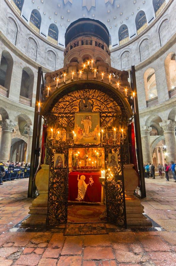 På kyrkan av den heliga griften - Jerusalem arkivbilder
