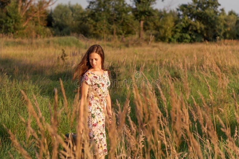 På lantlig äng går ett fält bland det högväxta gräset i stillhet unga flickan i en retro klänning med att flyga ut långt hår fotografering för bildbyråer