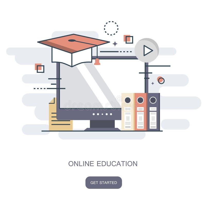 På linjen utbildning, utbildning, på den orubbliga som linjen e-lär begrepp Plan vektor stock illustrationer