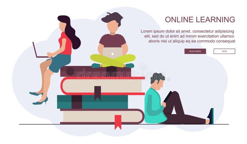 På linjen utbildning, utbildning, på den orubbliga som linjen e-lär begrepp Plan vektor royaltyfri illustrationer