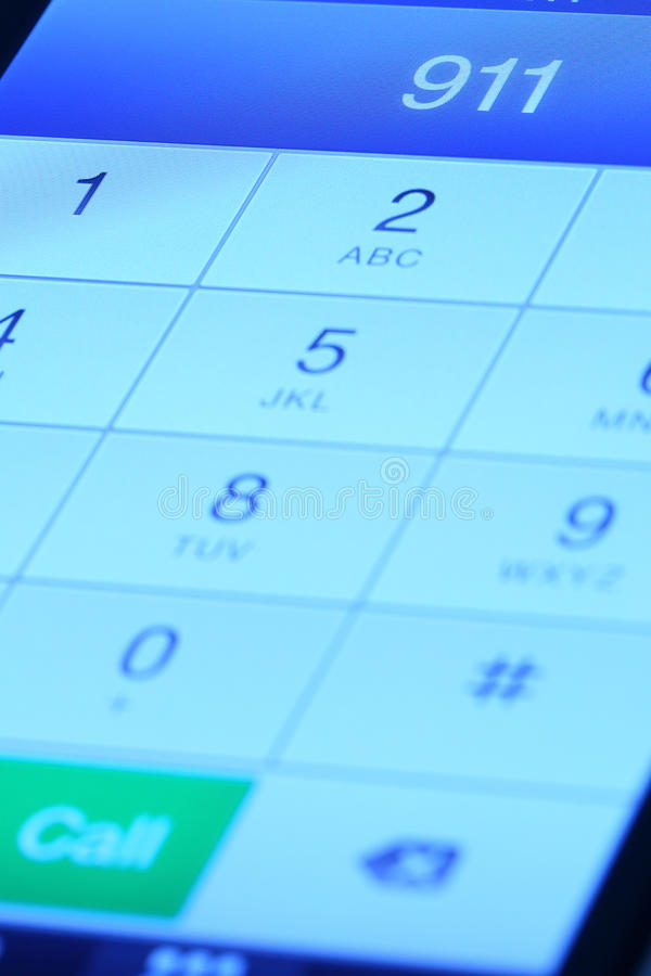 911 på mobiltelefonen royaltyfria foton