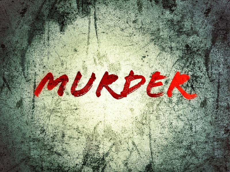 På mordet för grungebakgrundsord som är skriftligt i röd färg royaltyfri foto
