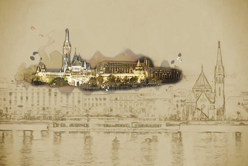 På natten i den Budapest Ungern vektor illustrationer