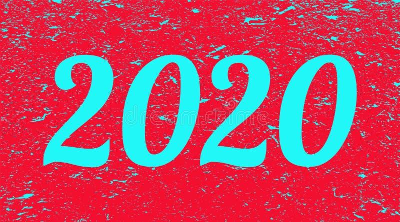 2020 på röd grungebakgrund Tv?tusen och tjugo illustration stock illustrationer
