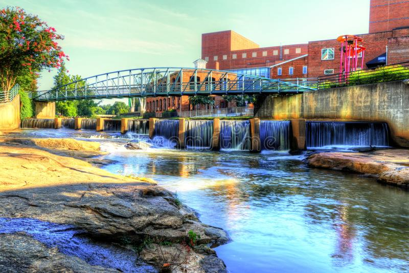 På Reedy River In Greenville royaltyfria foton