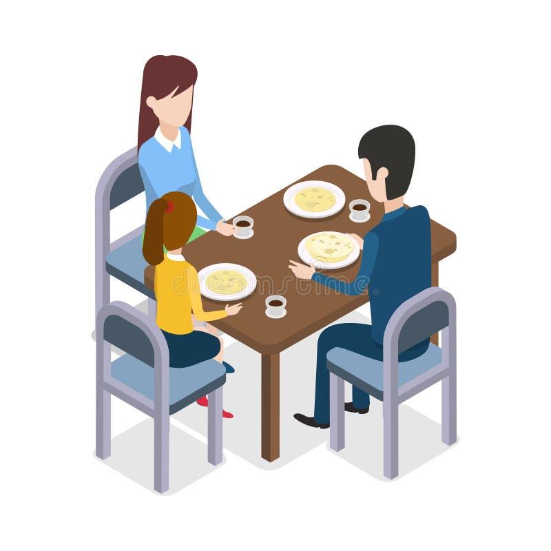 På restaurangen Familjsammanträde på att äta middag tabellen stock illustrationer