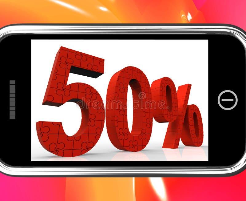 50 på Smartphone som visar speciala erbjudanden och befordringar royaltyfri illustrationer