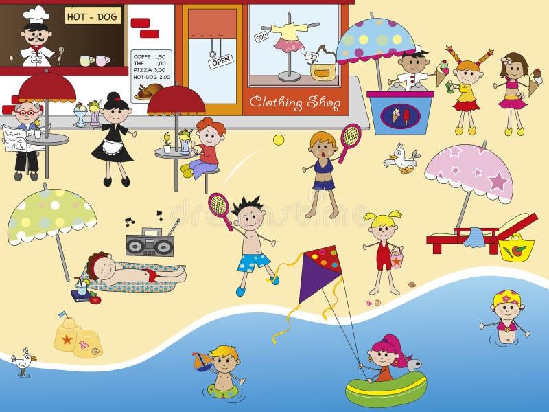 På stranden stock illustrationer