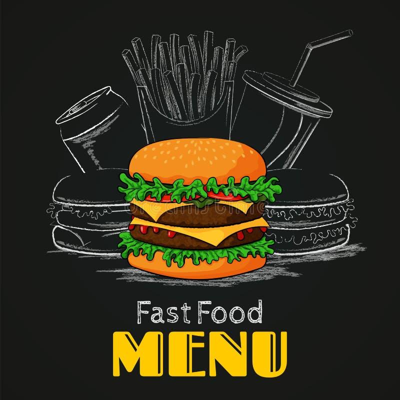 For på vitbakgrund Den färgrika hamburgaren med hamburgare, fransman steker och dricker stock illustrationer