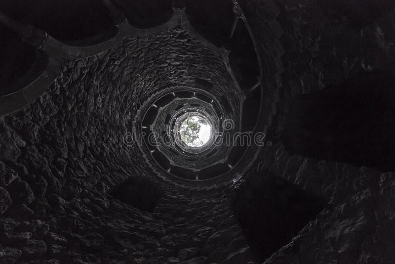 Påbörjandet väl av Quinta da Regaleira underifrån En romantisk trappuppgång i Sintra arkivbilder