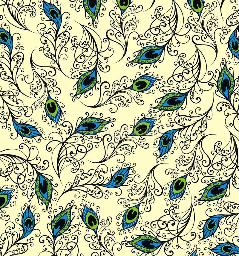 Påfågel Fantasin befjädrar bakgrund stock illustrationer