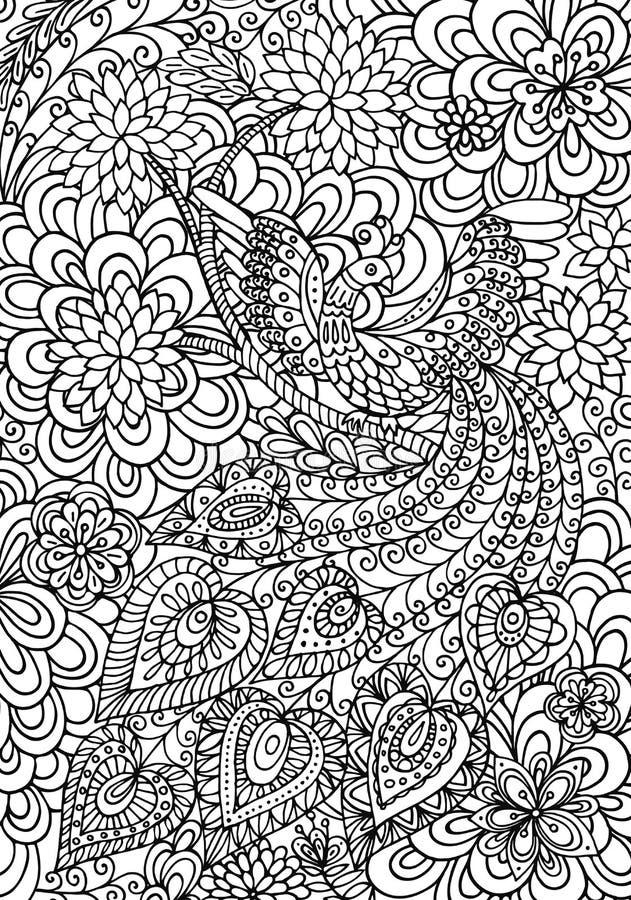 Påfågel och blom- trädgårds- färgläggningsida stock illustrationer