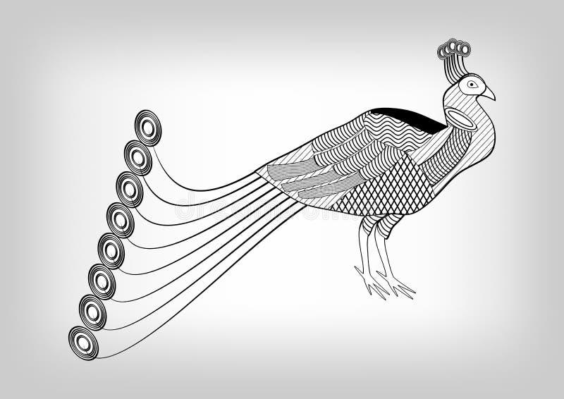 Påfågel svartvit stiliserad dekorativ teckning, fågel på grå lutningbakgrund som är användbar som garnering, tatueringvikarie stock illustrationer