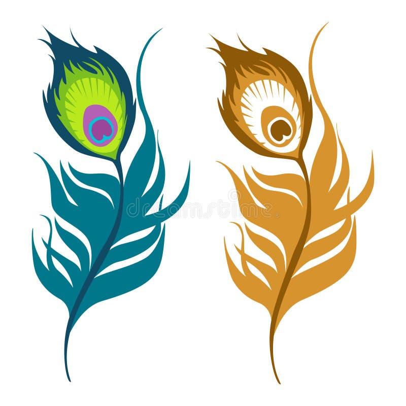 Påfågelfjädersymboler vektor illustrationer