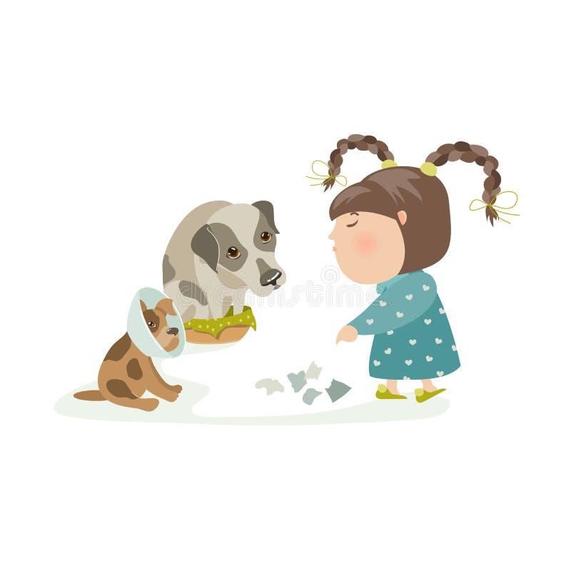 Påfrestande hundkapplöpning för liten flicka royaltyfri illustrationer