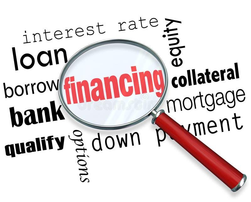 Påfyllningen för finansieringförstoringsglasord intecknar stock illustrationer