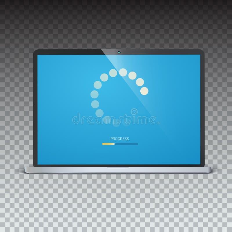 Påfyllningstång för mobila apps, rengöringsdukpreloader på skärmen av bärbara datorn Radiell påfyllning-, uppdatering- eller nedl stock illustrationer