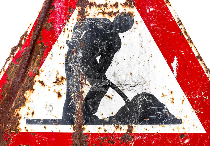 Pågående vägmärke för arbete royaltyfria foton