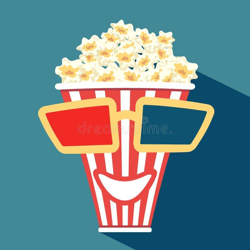 pålagda exponeringsglas 3d en ask med popcorn vektor illustrationer
