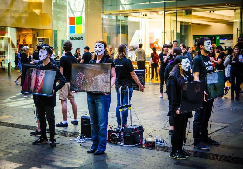 Pålagda grupp människor den anonyma maskeringen och rymmer skärmbildskärmen för att dela information om grymhet av djurt jordbruk arkivfoto