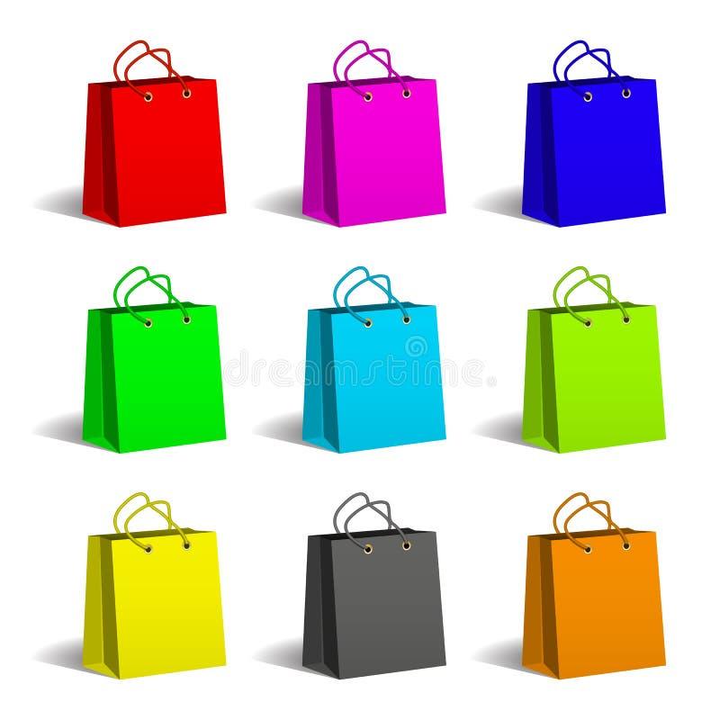 påsar färgade set shopping för papper Emballage och leverans Shopping och försäljning stock illustrationer