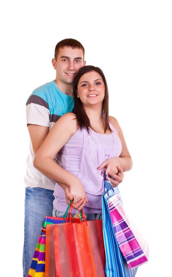 påsar förbunde lycklig shopping royaltyfria foton