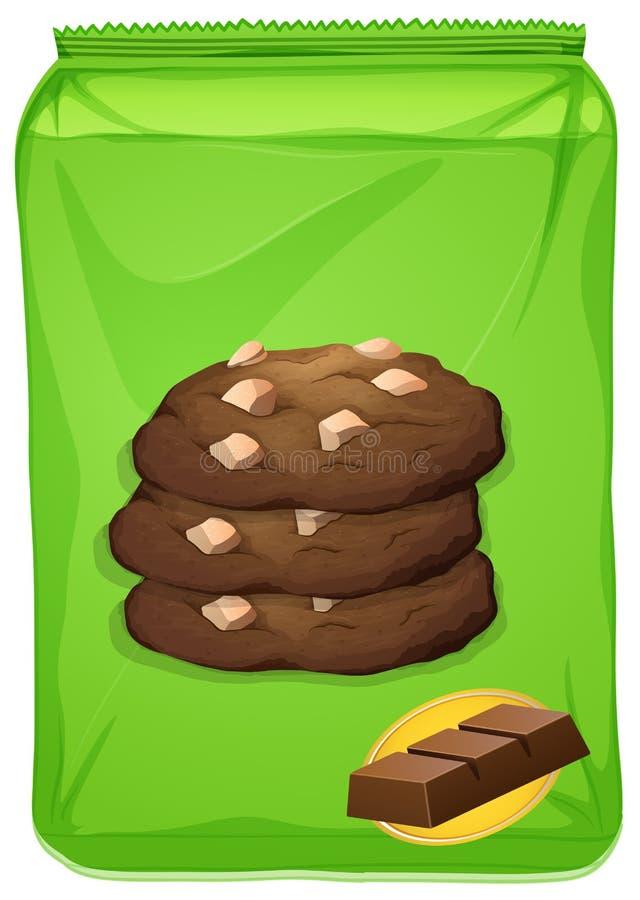 Påse av chokladkakor stock illustrationer