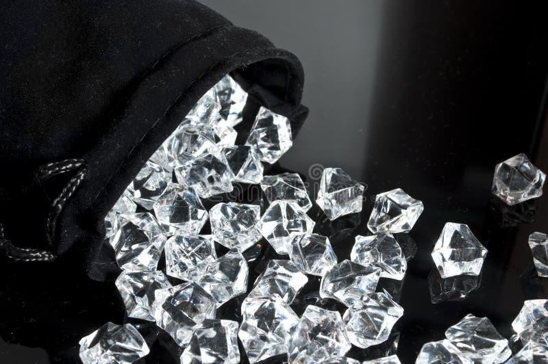 Påse av diamanter royaltyfria foton