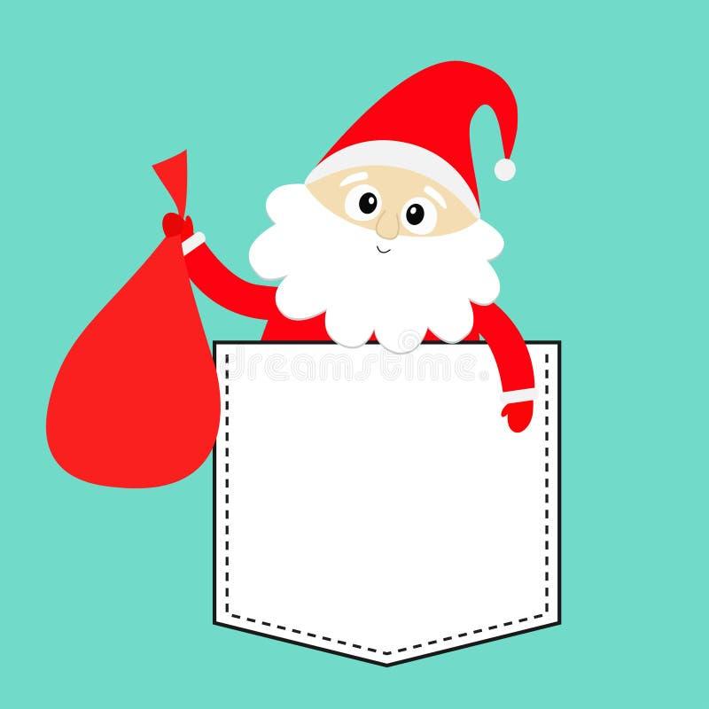 Påse för gåva för säck för Santa Claus innehav bärande T-tröjafack Röd hatt, dräkt, stort skägg, guld- bälte glad jul gulligt vektor illustrationer