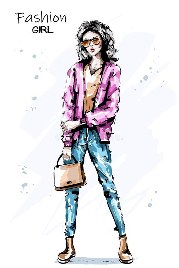 Påse för innehav för ung kvinna för hand utdragen härlig Stilfull elegant flicka i solglasögon Modekvinnadräkt royaltyfri illustrationer