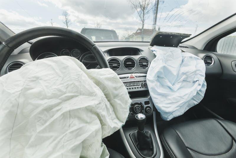 Påse för luft för bilkrasch, blått, inskriftairbag arkivbilder
