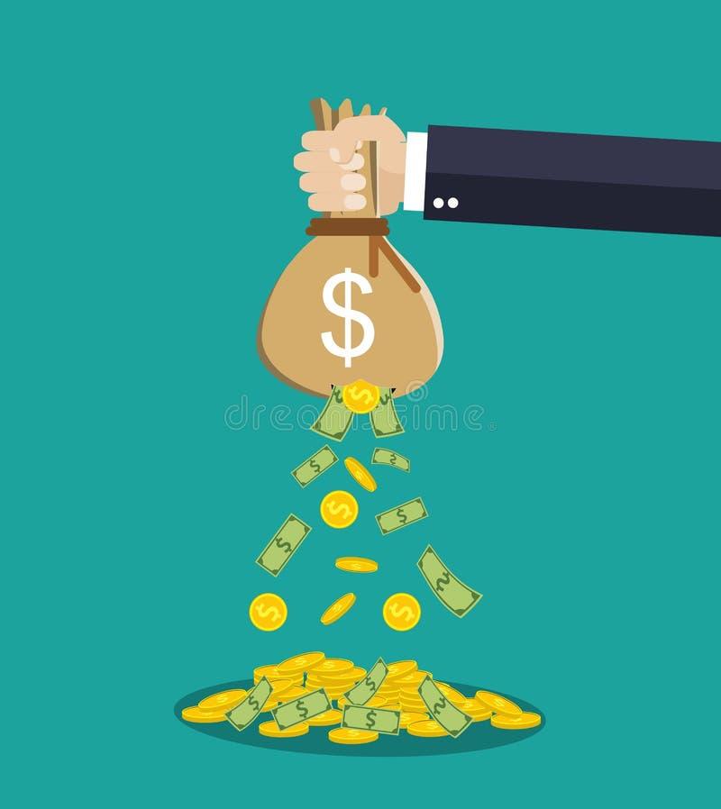 Påse för pengar för tecknad filmaffärsmanhand hållande vektor illustrationer