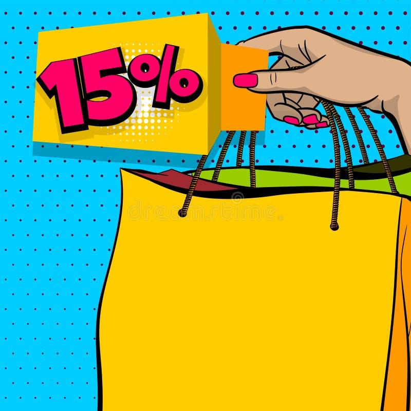 Påse för shoppare för håll för hand för baner för försäljning för popkonst stock illustrationer