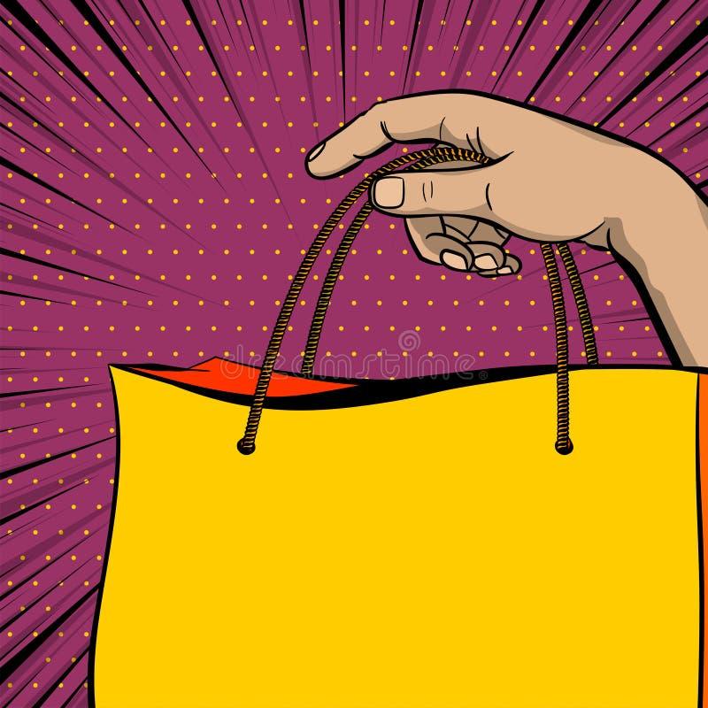 Påse för shoppare för håll för hand för baner för försäljning för popkonst royaltyfri illustrationer