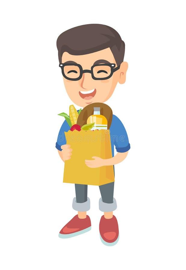 Påse för shopping för pojkeinnehavpapper mycket av livsmedel royaltyfri illustrationer