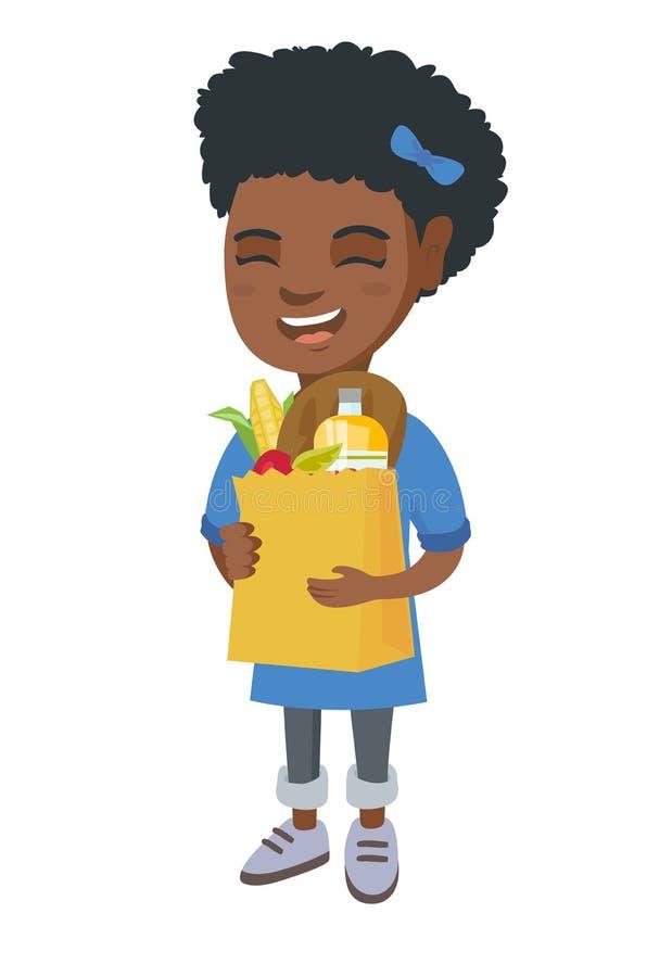 Påse för shopping för flickainnehavpapper mycket av livsmedel stock illustrationer