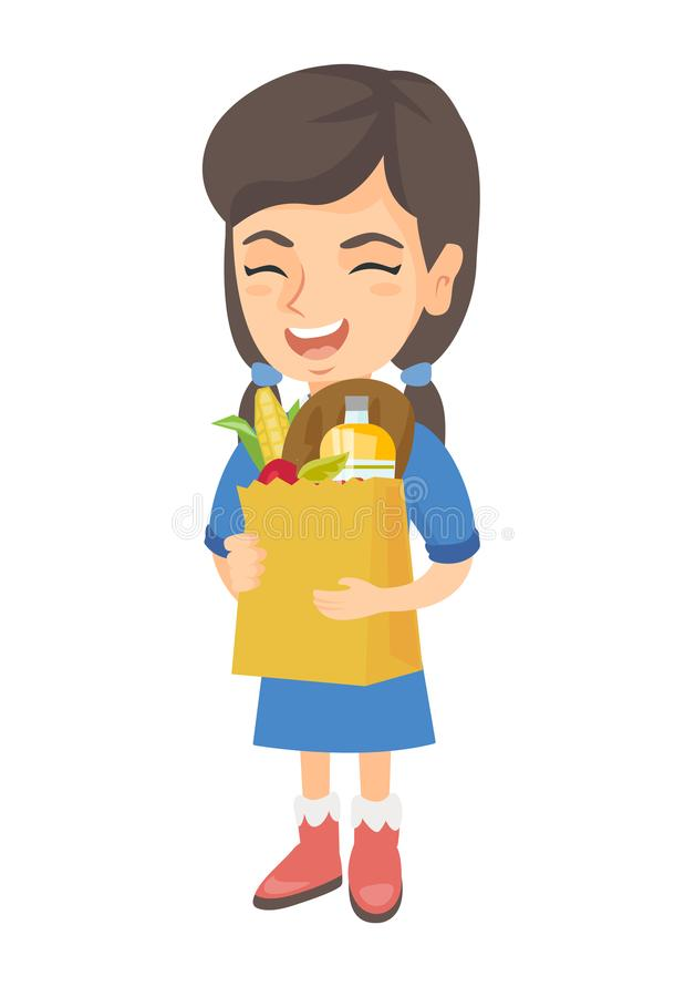 Påse för shopping för flickainnehavpapper mycket av livsmedel royaltyfri illustrationer